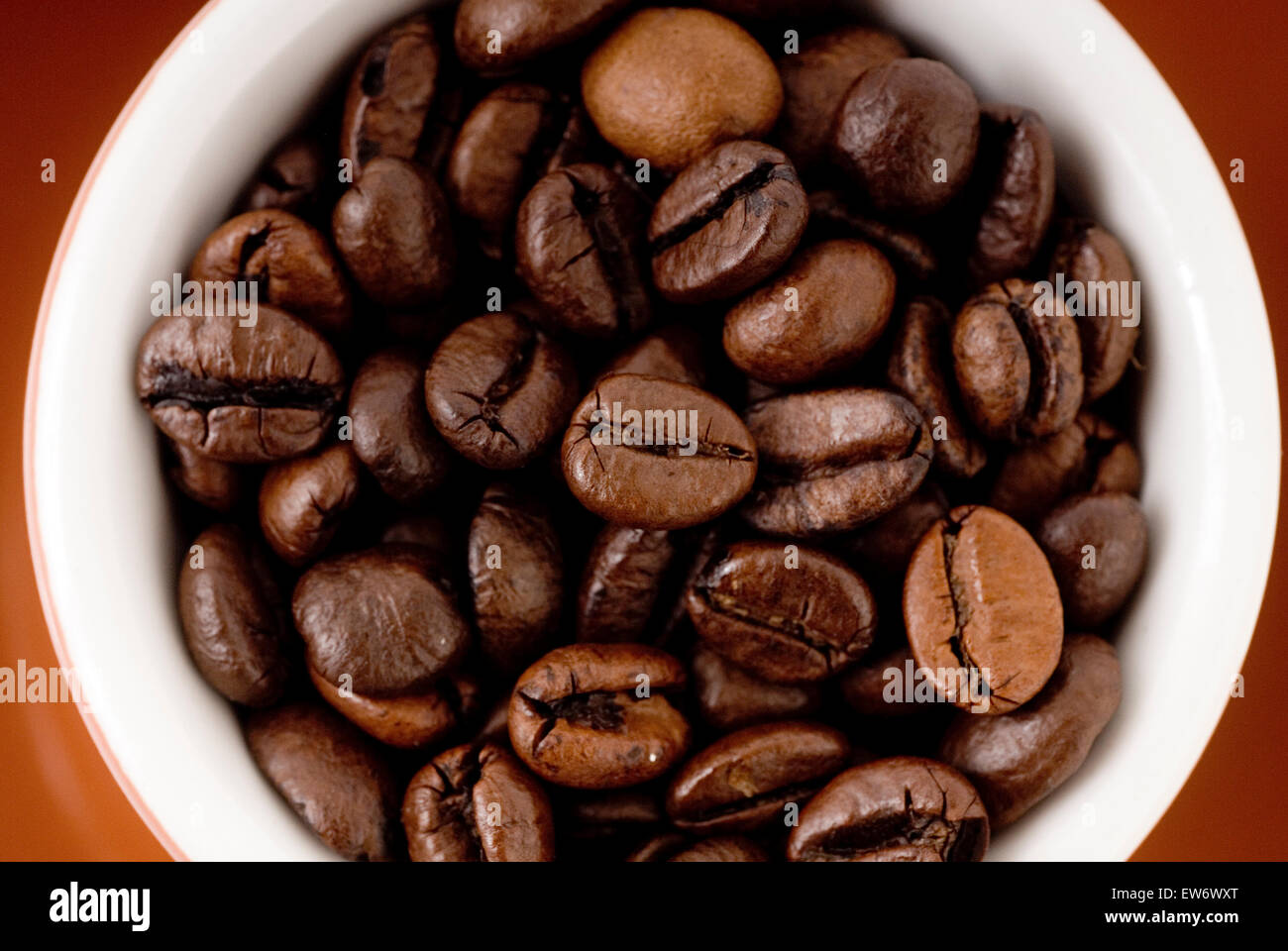 Espresso cup filled with coffee beans Stock Photo