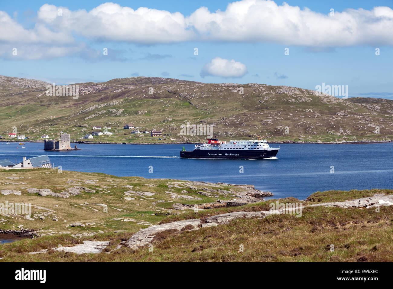 Cal Mac ferry leaving Castlebay, Barra - Stock Image