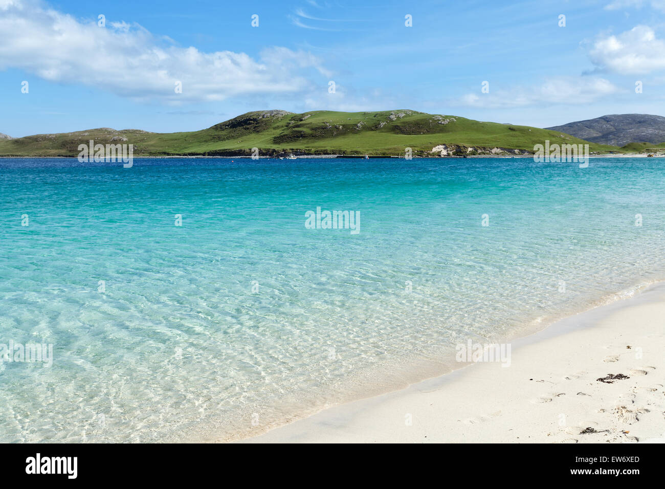 Sandy beach and turquoise sea, Outer Hebrides, Scotland - Stock Image