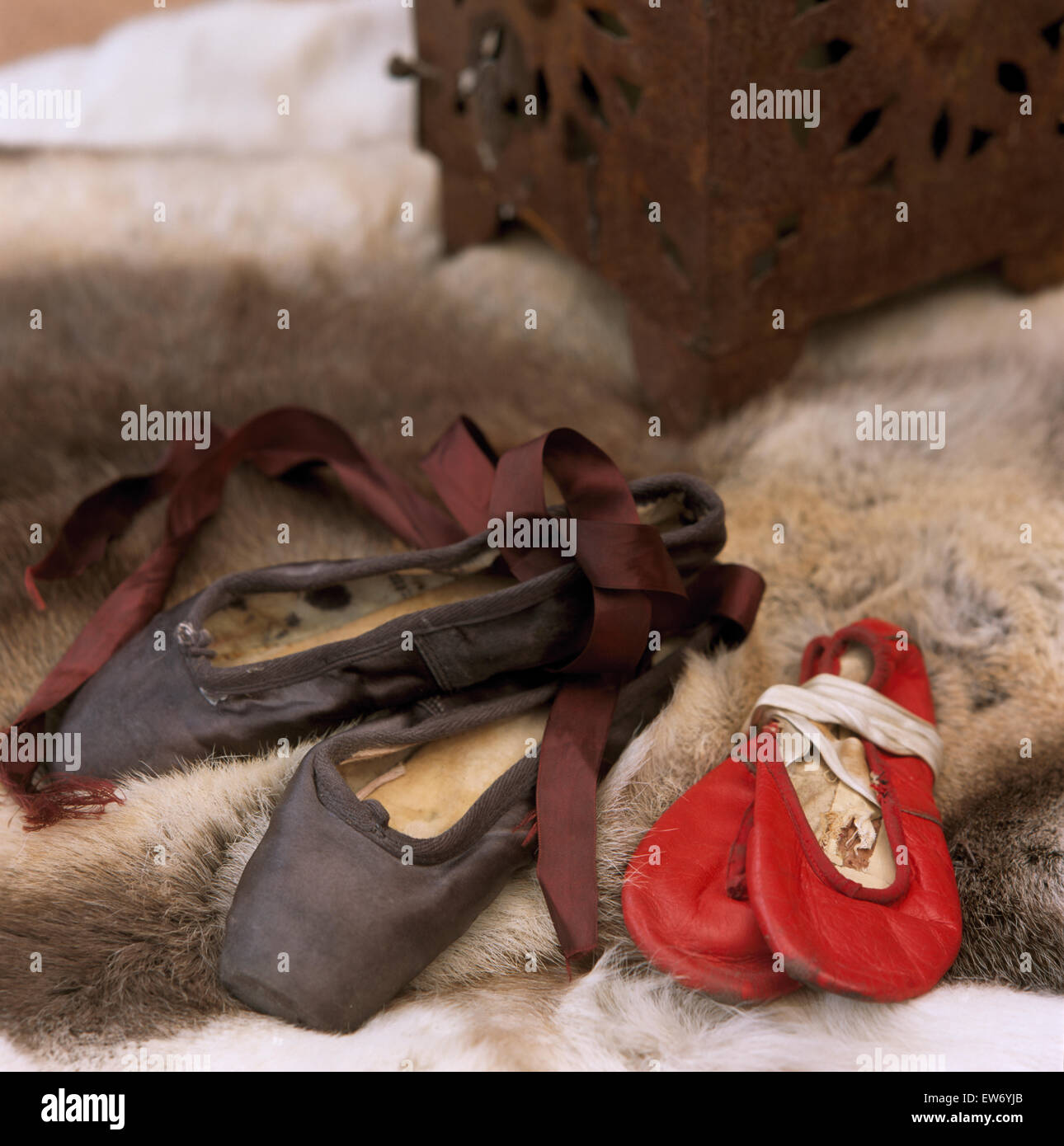 Close-up of pairs of worn ballet shoes - Stock Image