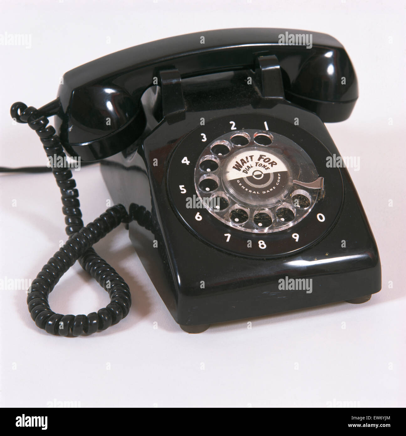 Close-up of a black fifties telephone - Stock Image