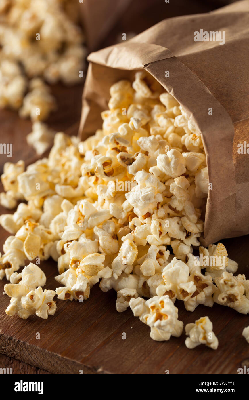 Homemade Kettle Corn Popcorn in a Bag Stock Photo