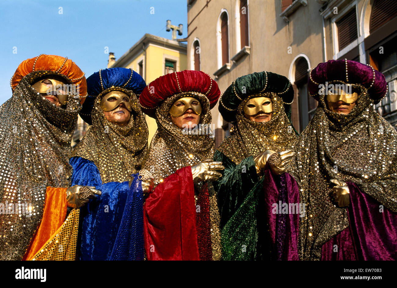 Revellers wearing traditional masks and robes at the Carnival in Venice         FOR EDITORIAL USE ONLY - Stock Image