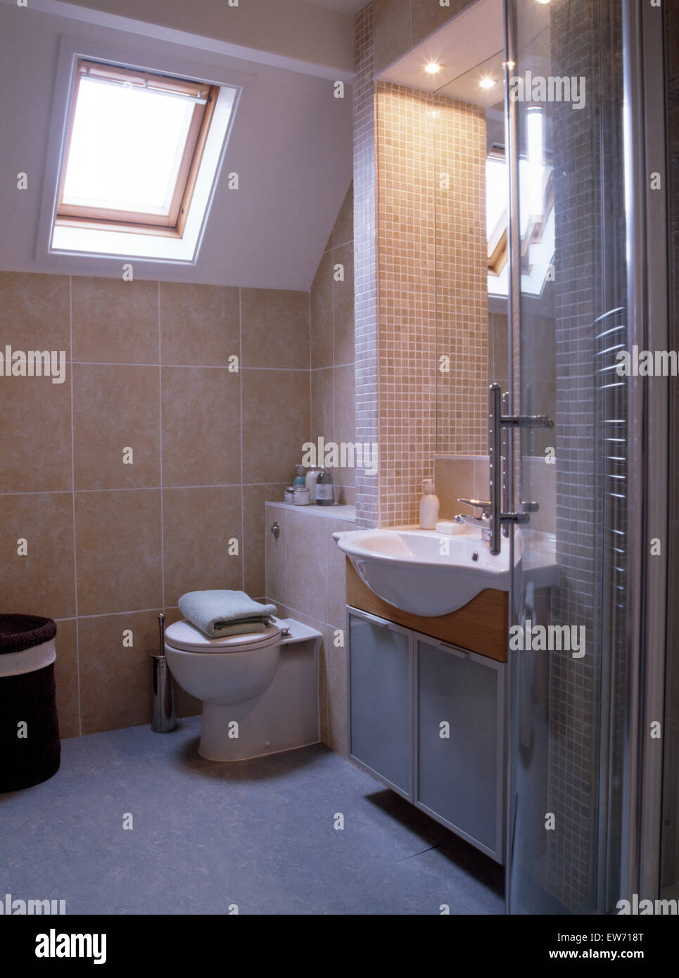 Velux window above toilet in small tiled attic bathroom Stock Photo ...