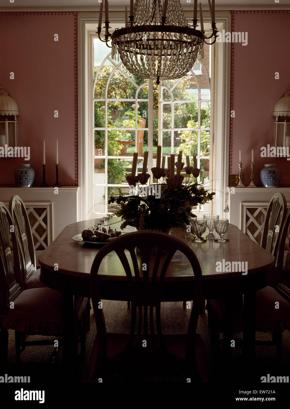 Antique Chandelier And Furniture In Scandinavian Style Nineties Dining Room