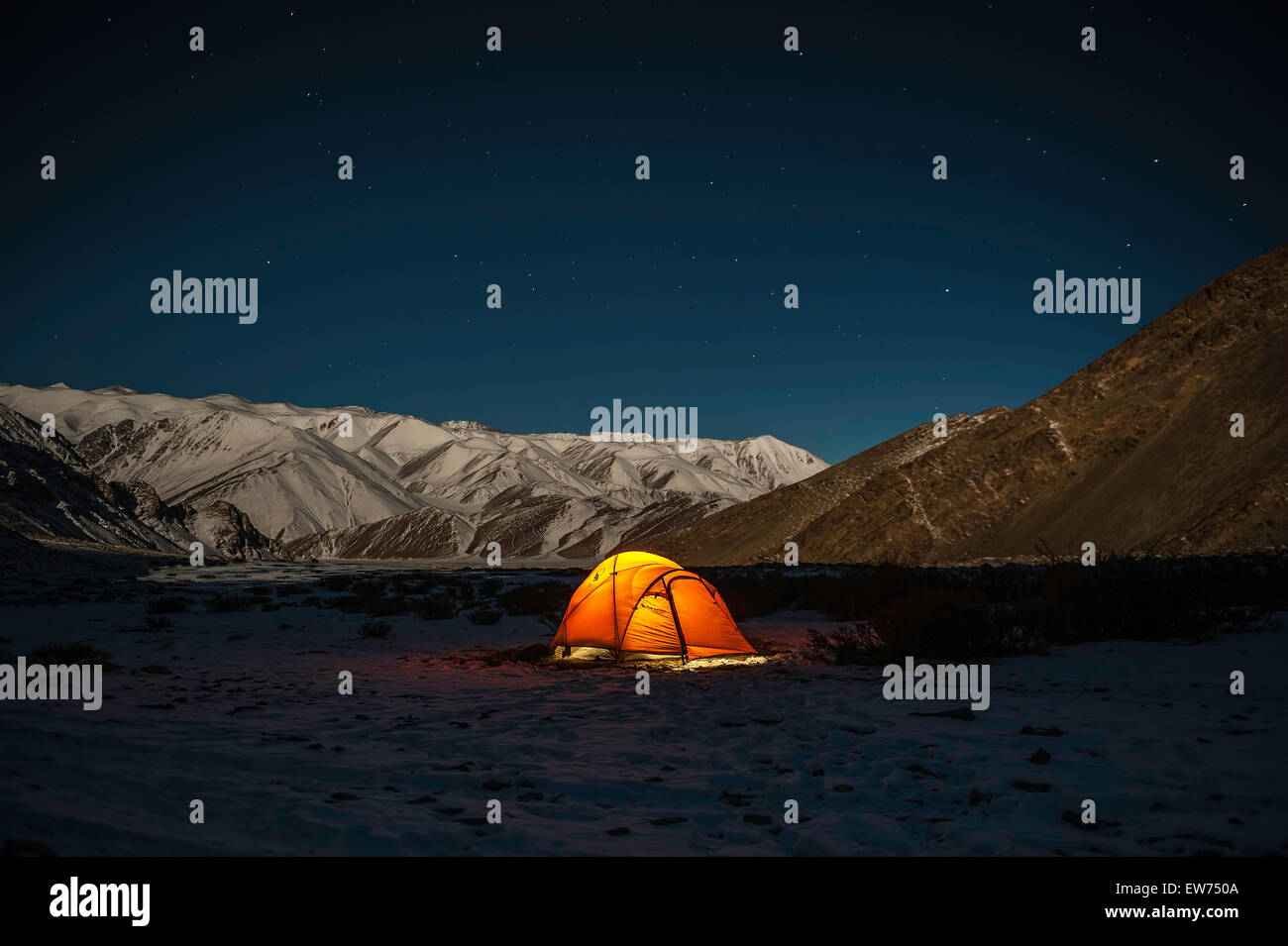Camping at night in Changthang Stock Photo