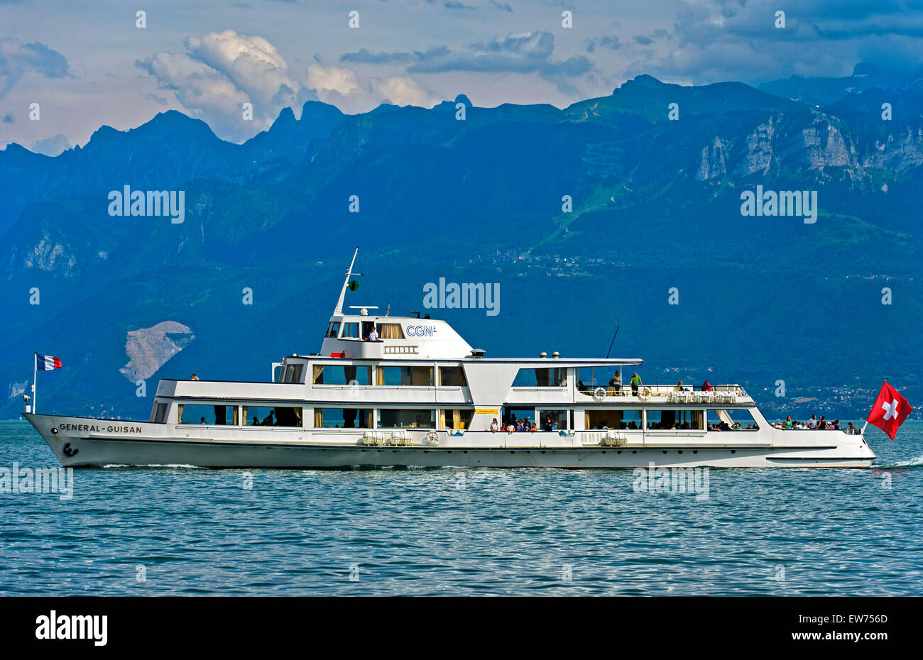 Motor boat Guisan of the company CGN cruising on Lake Geneva at the foot of the Vaud Alps, Morges, Vaud, Switzerland - Stock Image