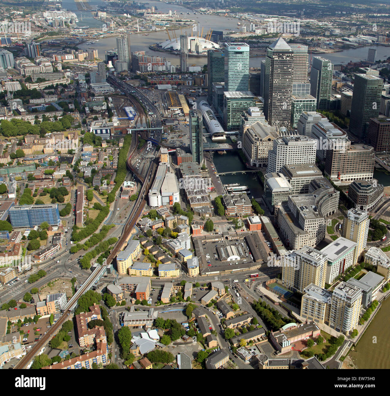 aerial view looking along the Docklands Light Railway at Westferry, Canary Wharf, East London, UK - Stock Image