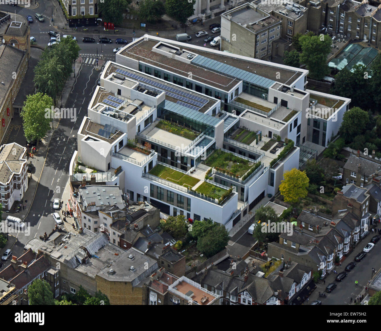 aerial view of University of Greenwich, Stockwell Street Library, Greenwich, London, UK - Stock Image