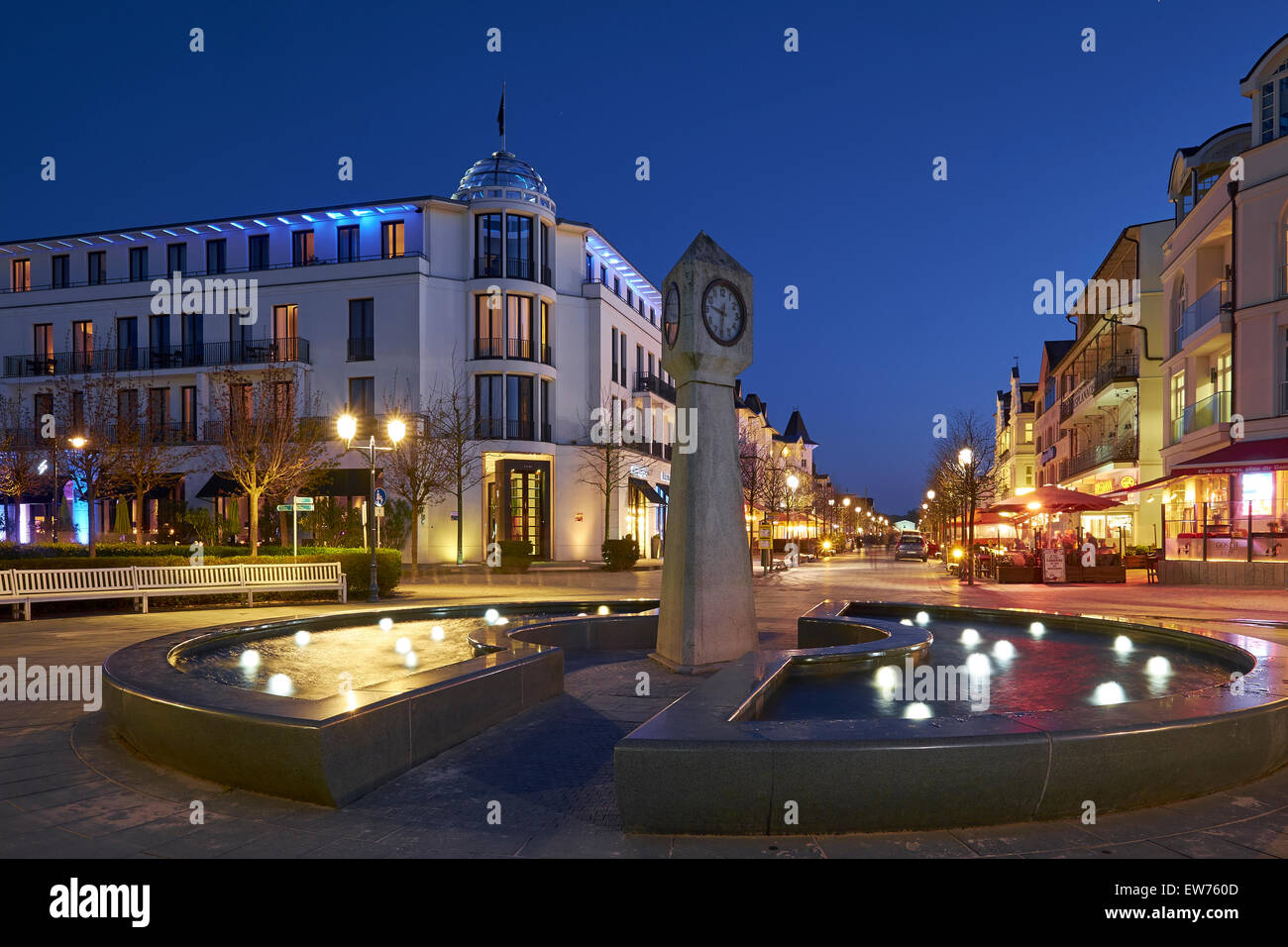 Beach promenade in the seaside resort Binz, Rügen, Germany - Stock Image