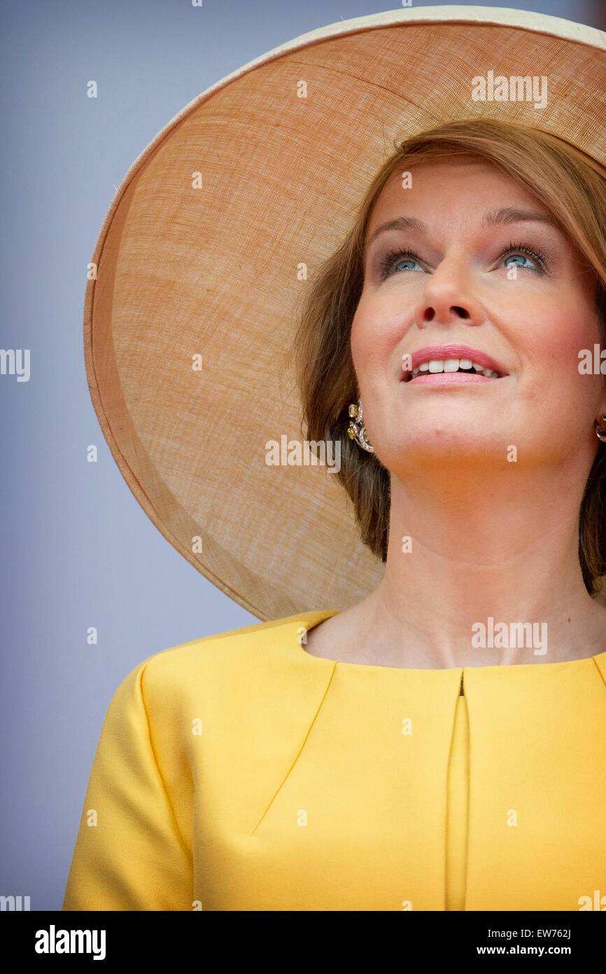 Queen Mathilde of Belgium during official celebration as part of the bicentennial celebrations for the Battle of - Stock Image