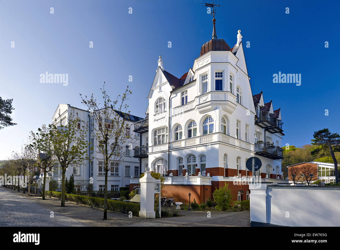 Resort architecture in the seaside resort Binz, Rügen, Germany - Stock Image