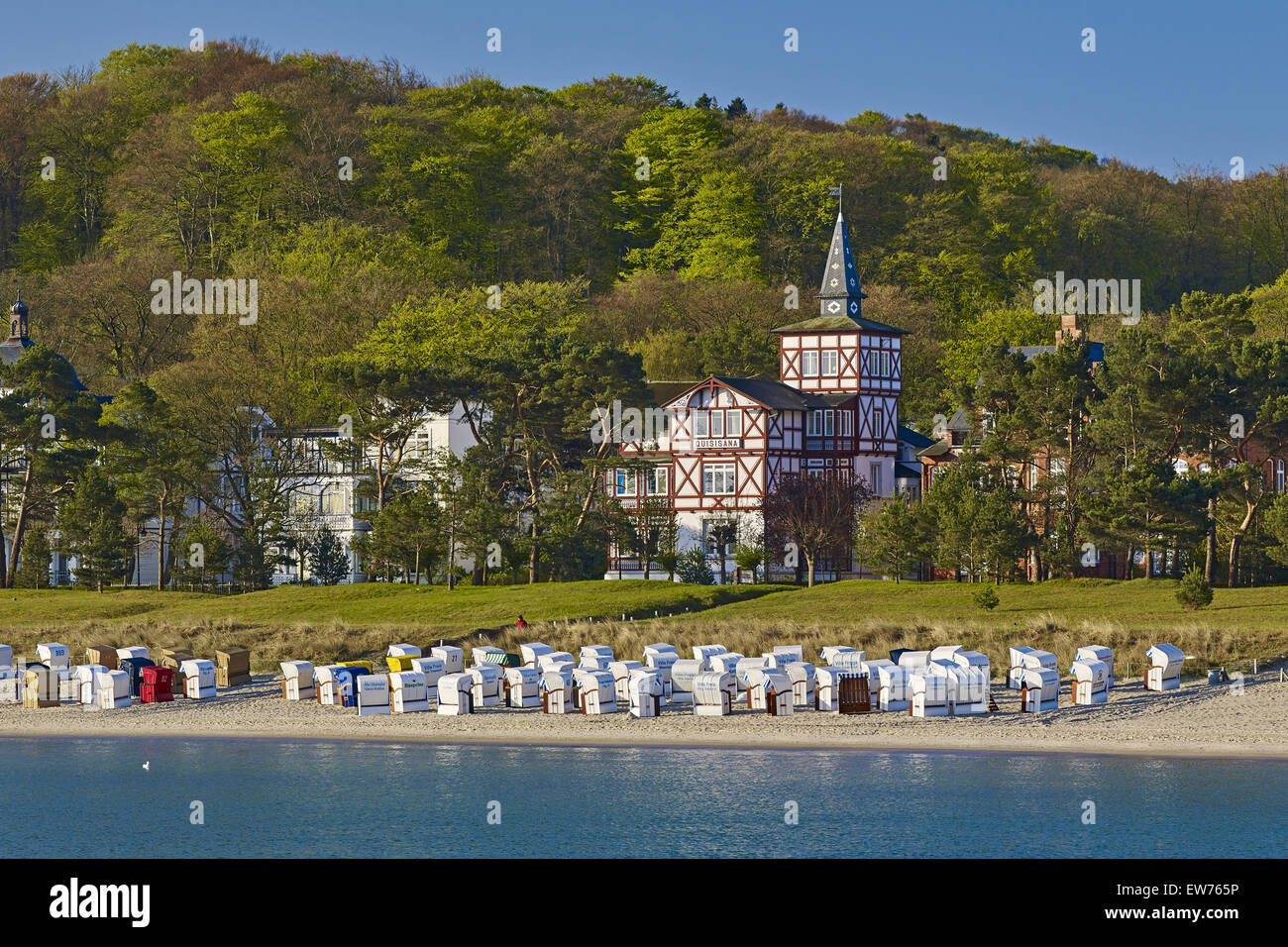 Beach in the seaside resort Binz, Rügen, Germany - Stock Image