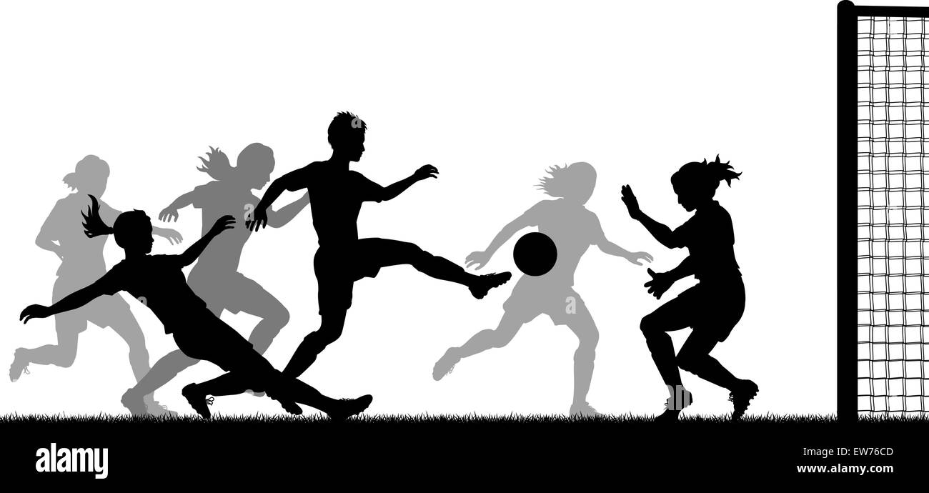 EPS8 editable vector silhouette of action in a ladies football match with all figures as separate objects - Stock Vector