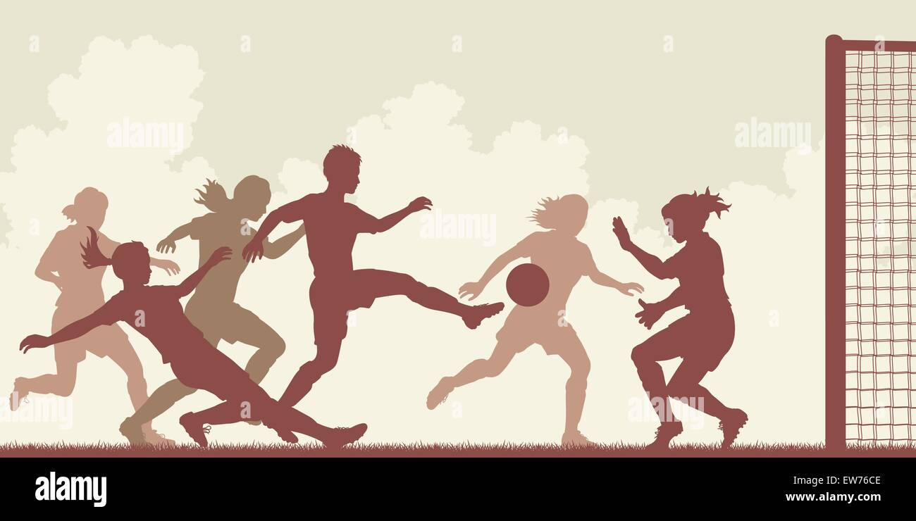 EPS8 editable vector cutout illustration of action in a ladies football match with all figures as separate objects - Stock Vector