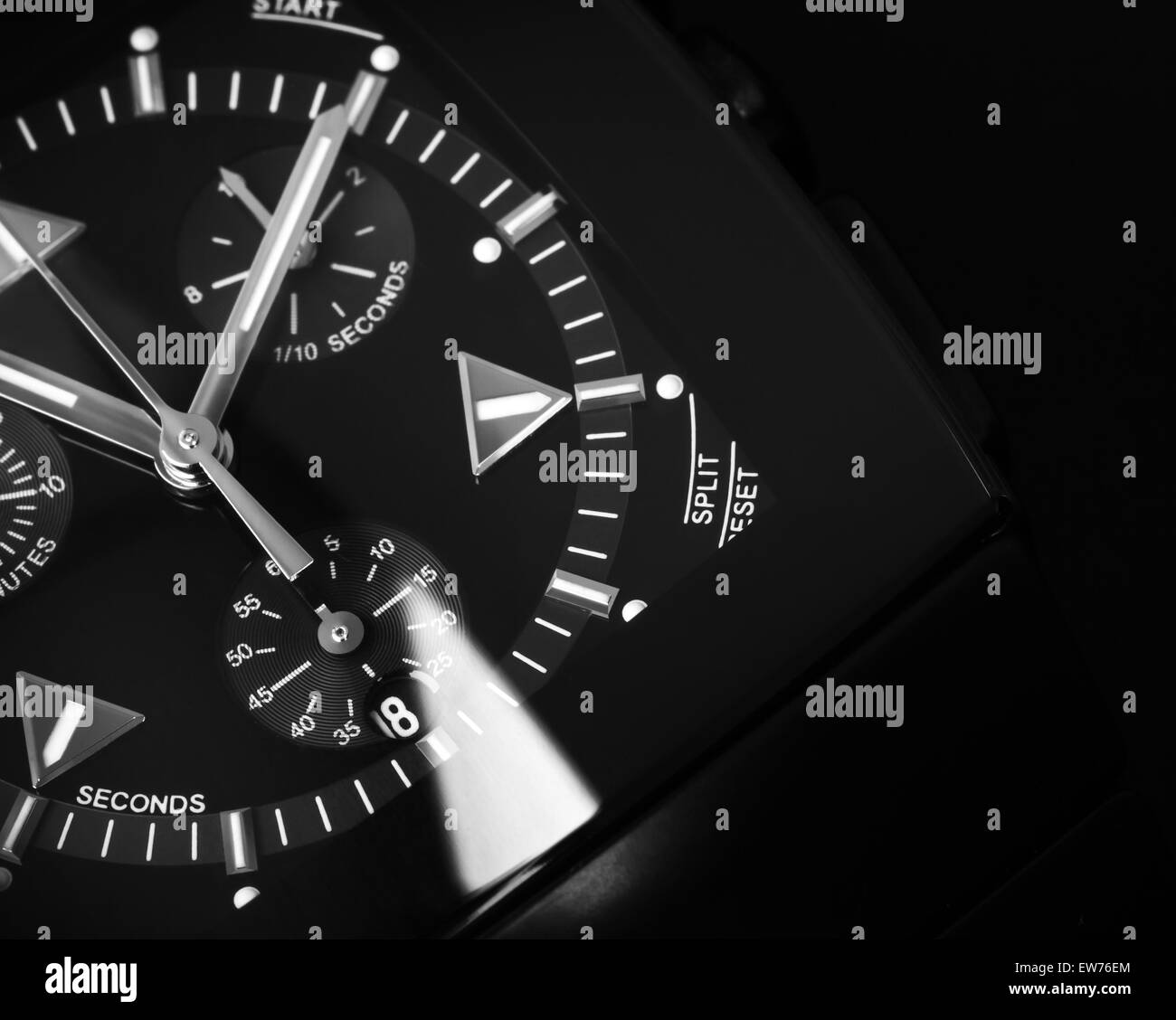 Luxury mens Chronograph Watch made of black high-tech ceramics with sapphire glass. Close-up studio photo with selective - Stock Image