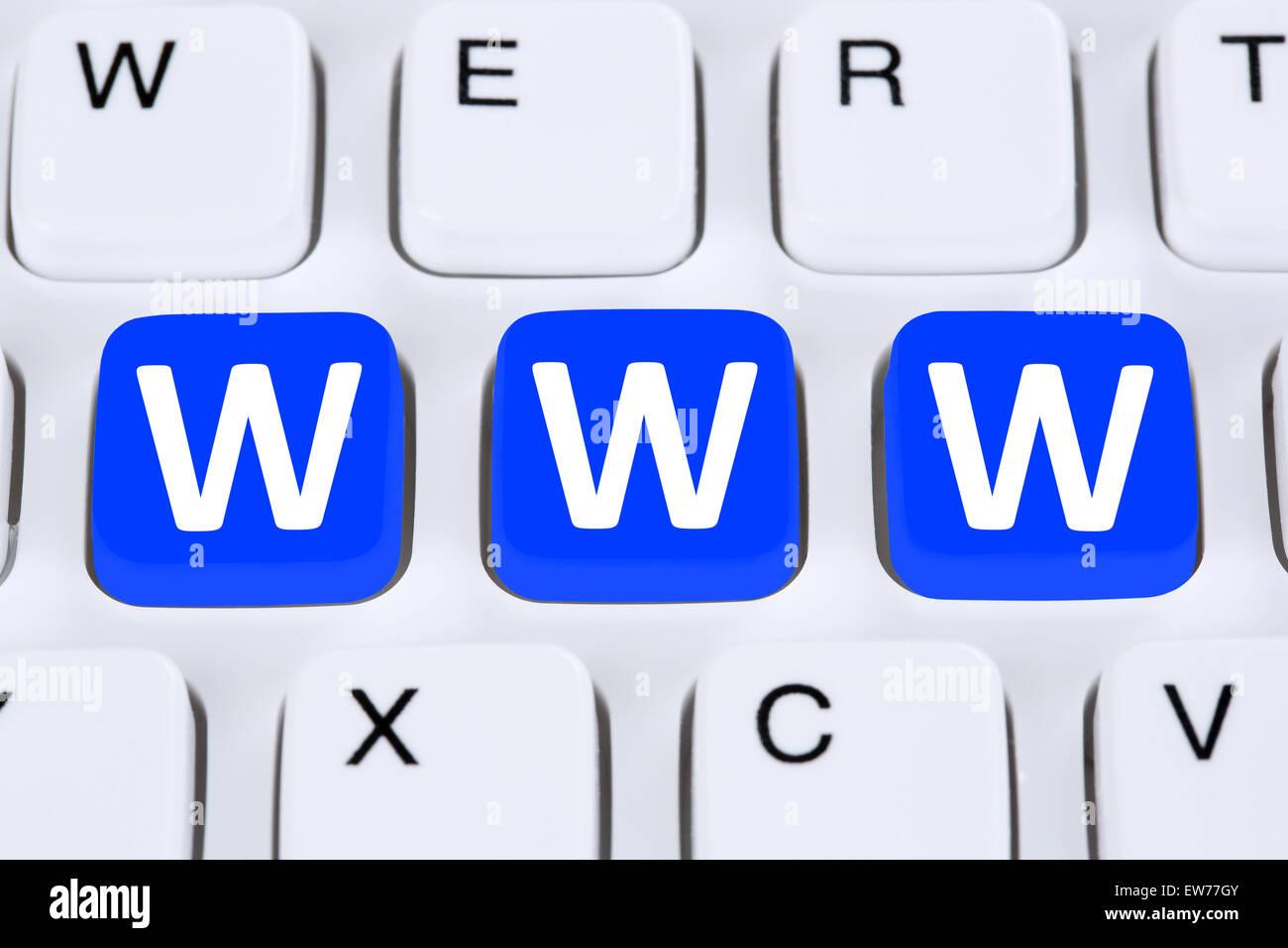 Internet www world wide web online on computer keyboard - Stock Image