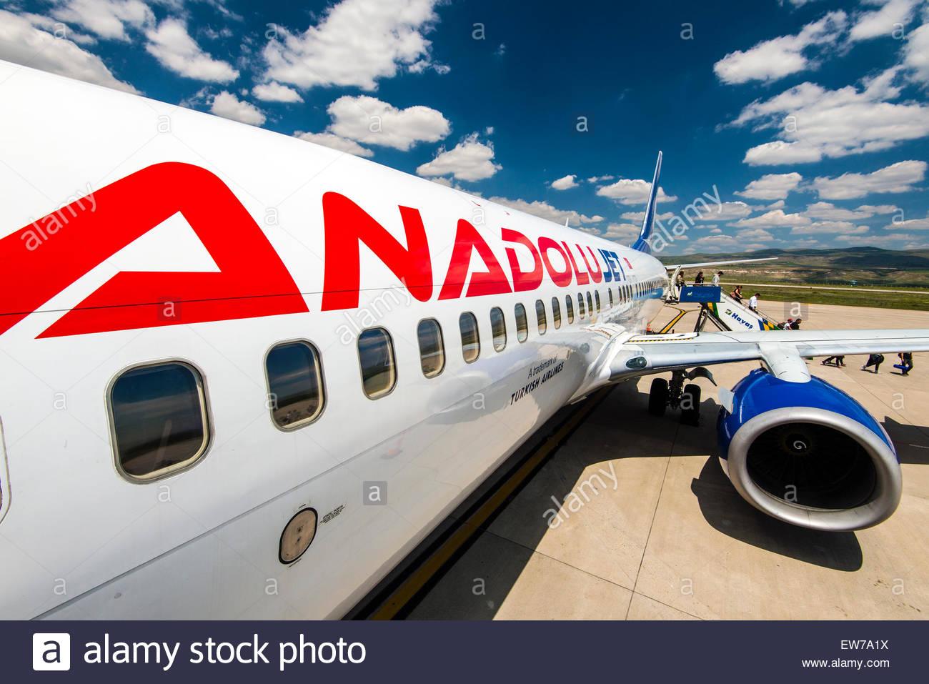 Anadolu Jet Boeing 737-800, Nevsehir airport, Cappadocia, Turkey - Stock Image