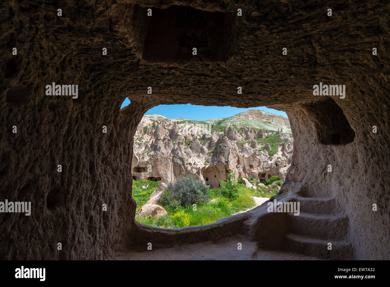 The abandoned rock carved village of Zelve, Zelve open air museum, Cappadocia, Turkey - Stock Image