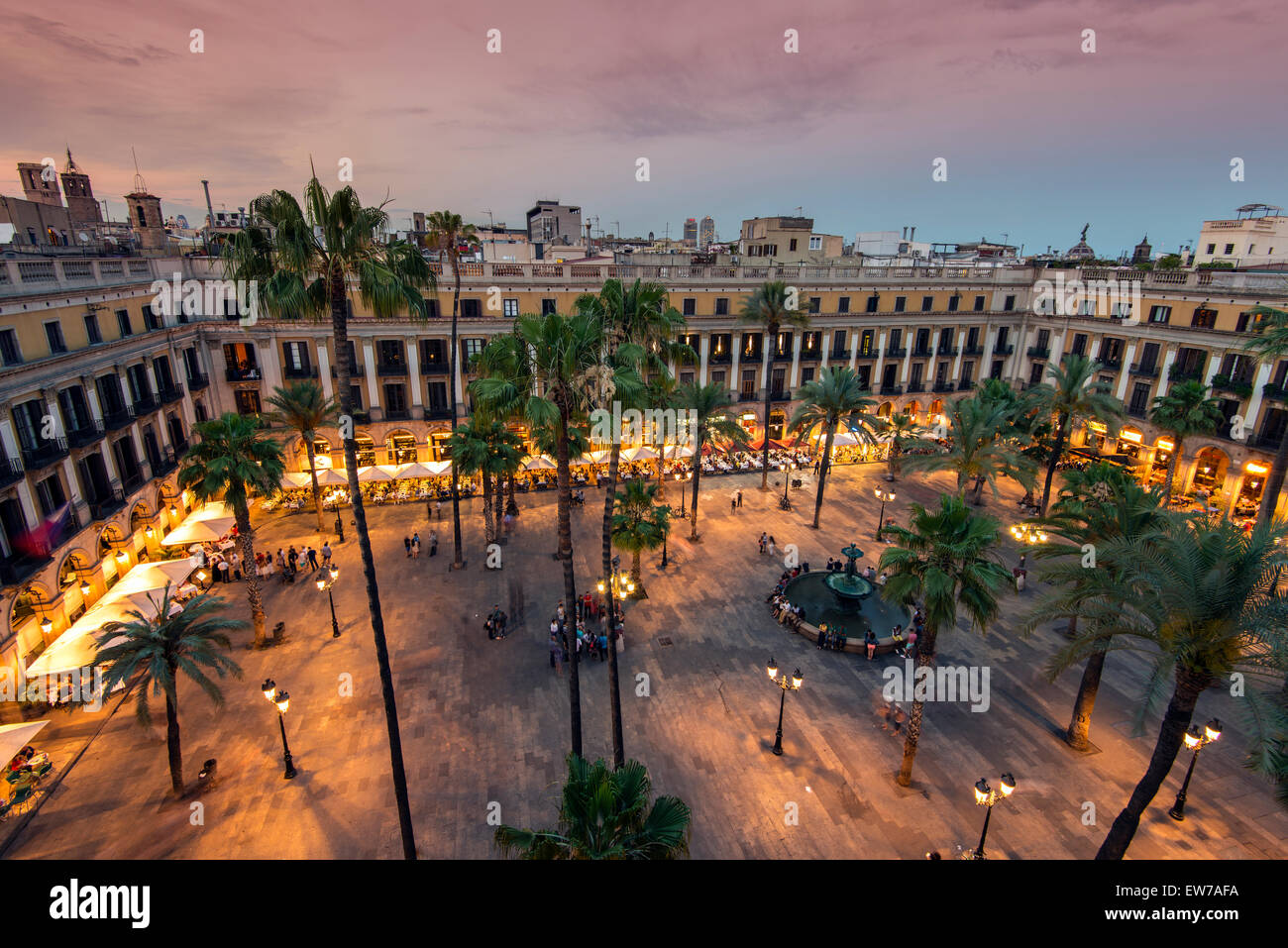 Sunset top view over Placa Reial or Plaza Real, Barcelona, Catalonia, Spain - Stock Image