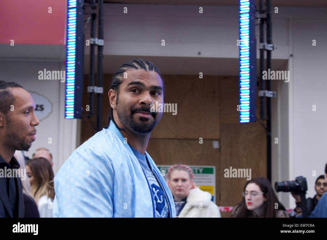 David Haye,british boxer attends the blue carpet movie premier of 'Entourage the movie' at the Vue in Leicester - Stock Image