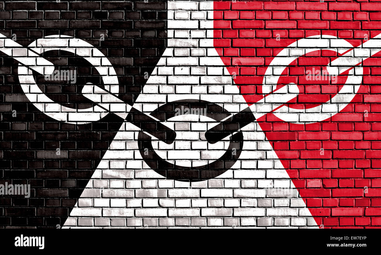 flag of Black Country painted on brick wall - Stock Image