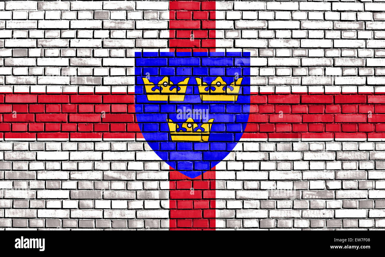 flag of East Anglia painted on brick wall - Stock Image