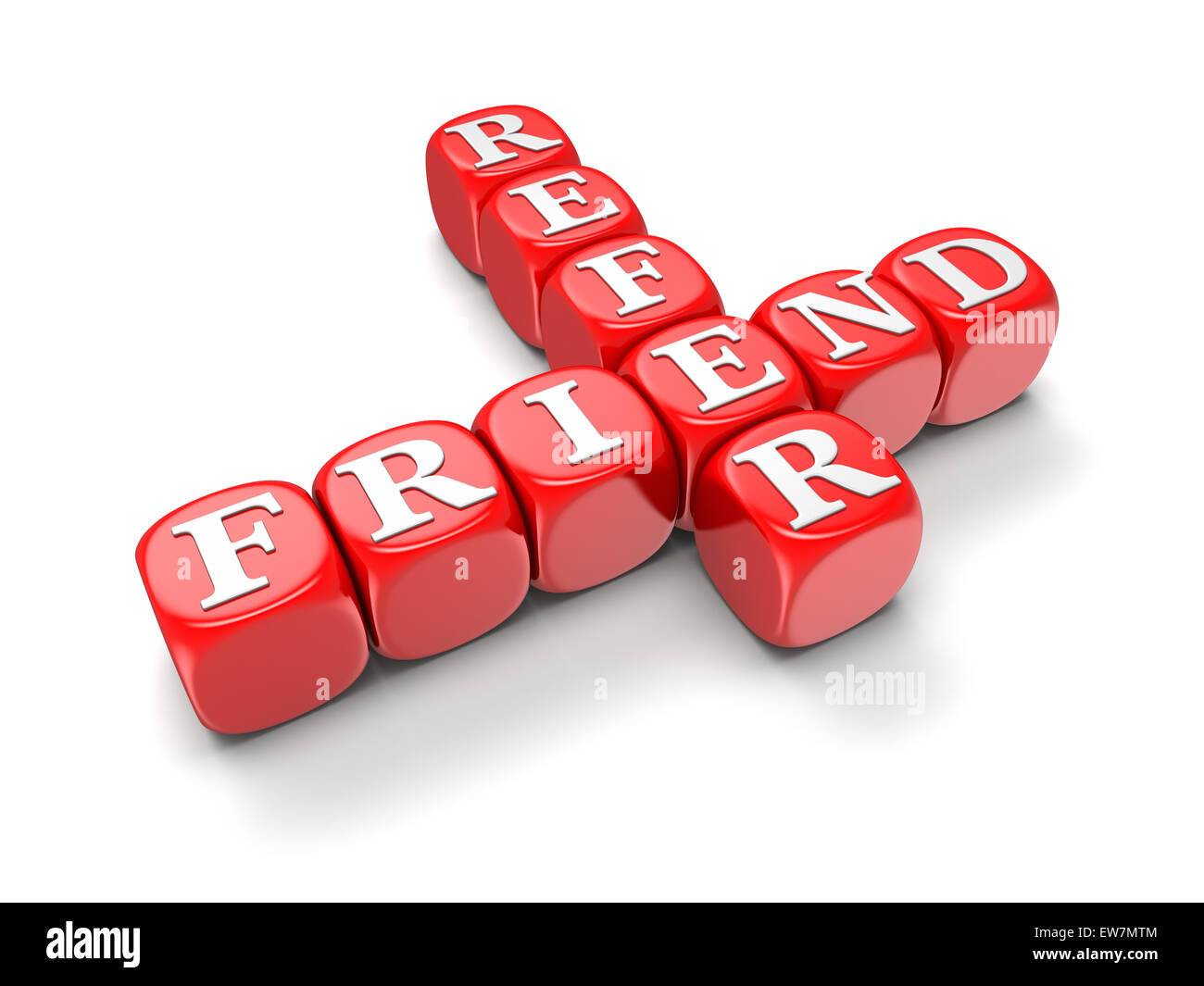 Refer Friend - Block Letters (clipping path included) - Stock Image