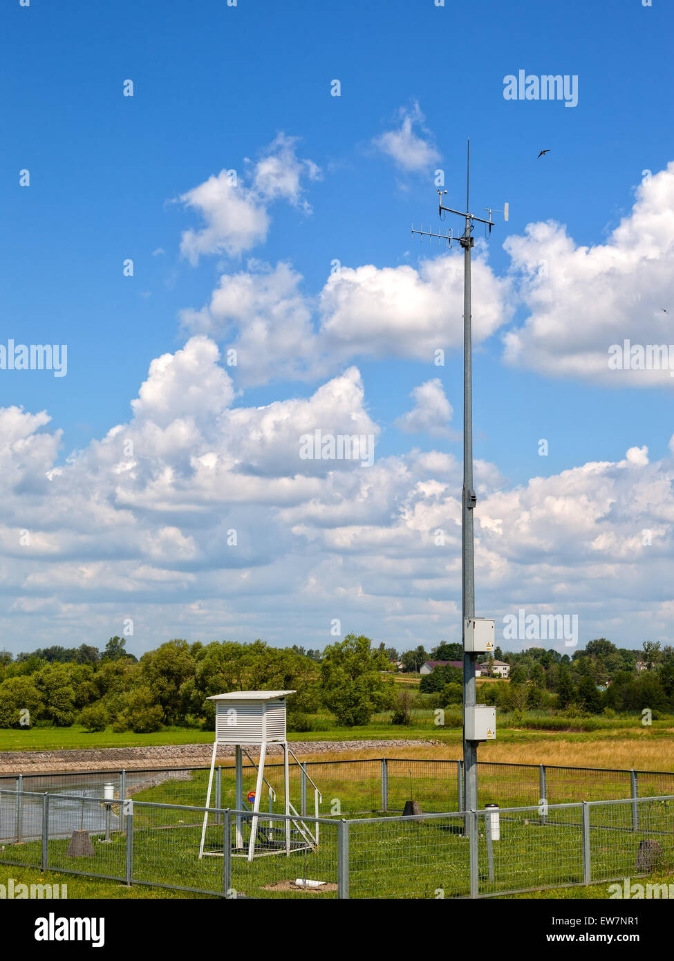 Meteorological station on the background river of Wieprz. - Stock Image