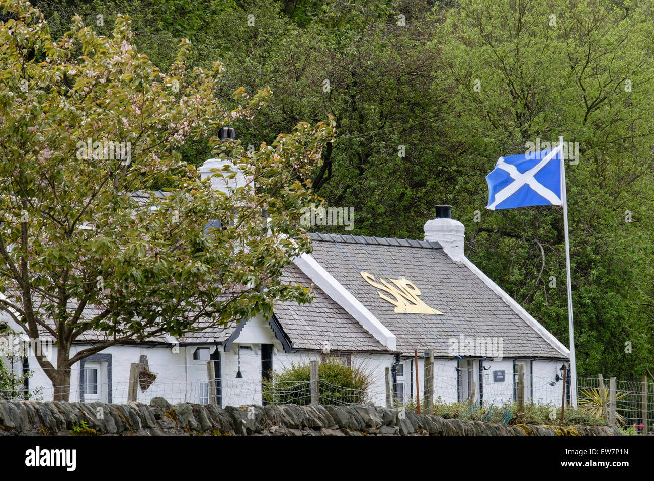 Cottage supporting the Scottish National Party with SNP on the roof and flying the flag. Lochranza, Isle of Arran, - Stock Image