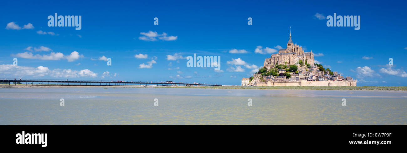 Panoramic view of famous Mont-Saint-Michel, France, Europe. Stock Photo