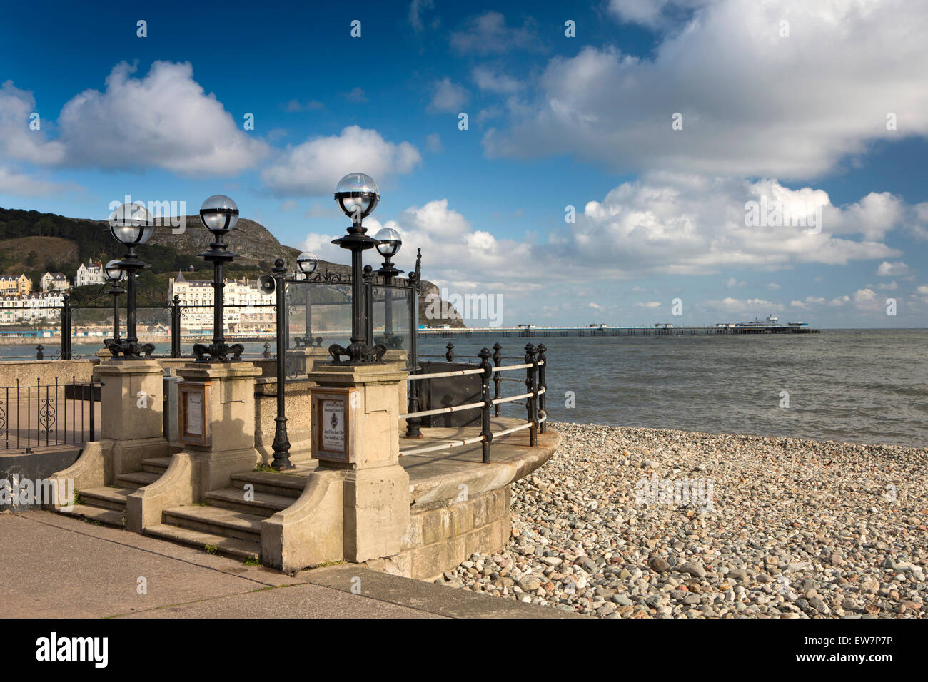 UK, Wales, Conwy, Llandudno, promenade, bandstand over North Beach Stock Photo