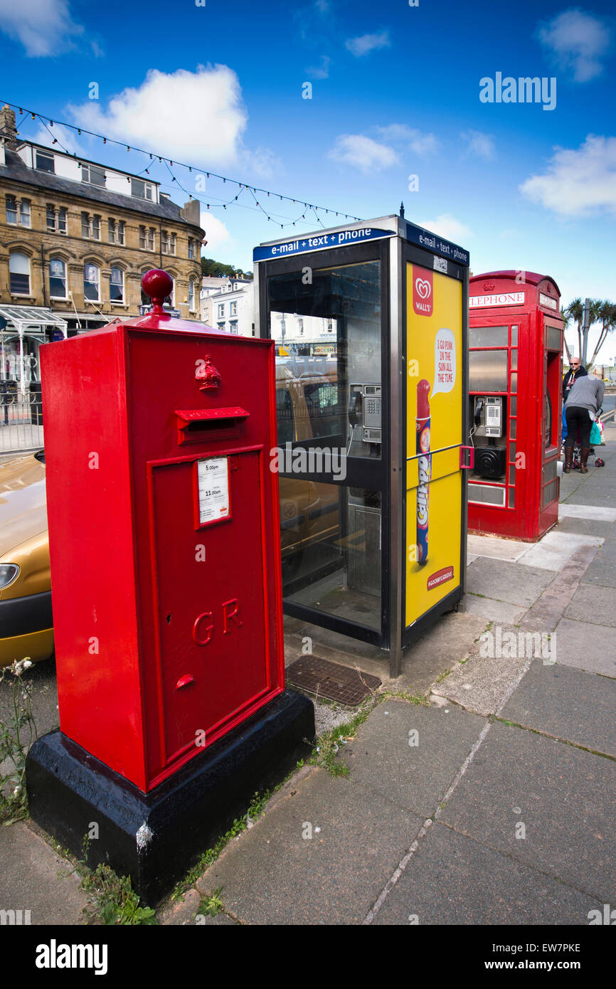 UK, Wales, Conwy, Llandudno, Gloddaeth Street, street furniture including unusual rectangular post box - Stock Image