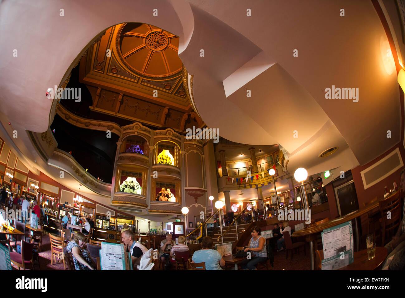UK, Wales, Conwy, Llandudno, Gloddaeth Street, Wetherspoon's Palladium pub in former cinema, interior - Stock Image