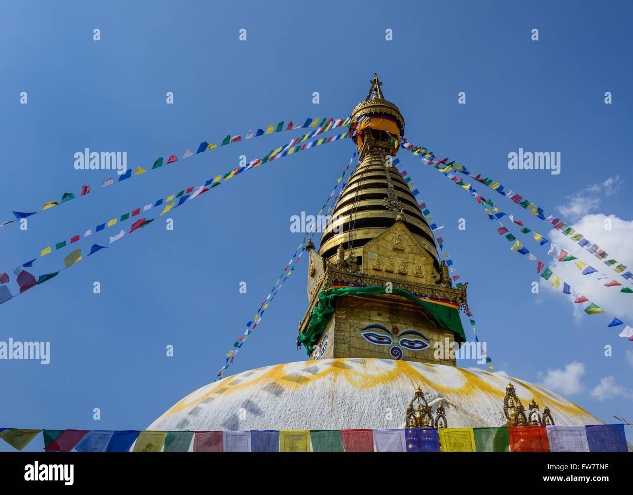 Bodnath Stupa decorated with flags, Kathmandu, Nepal - Stock Image