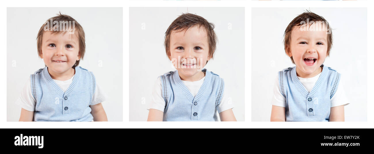 Boy,making funny faces on a white background - Stock Image