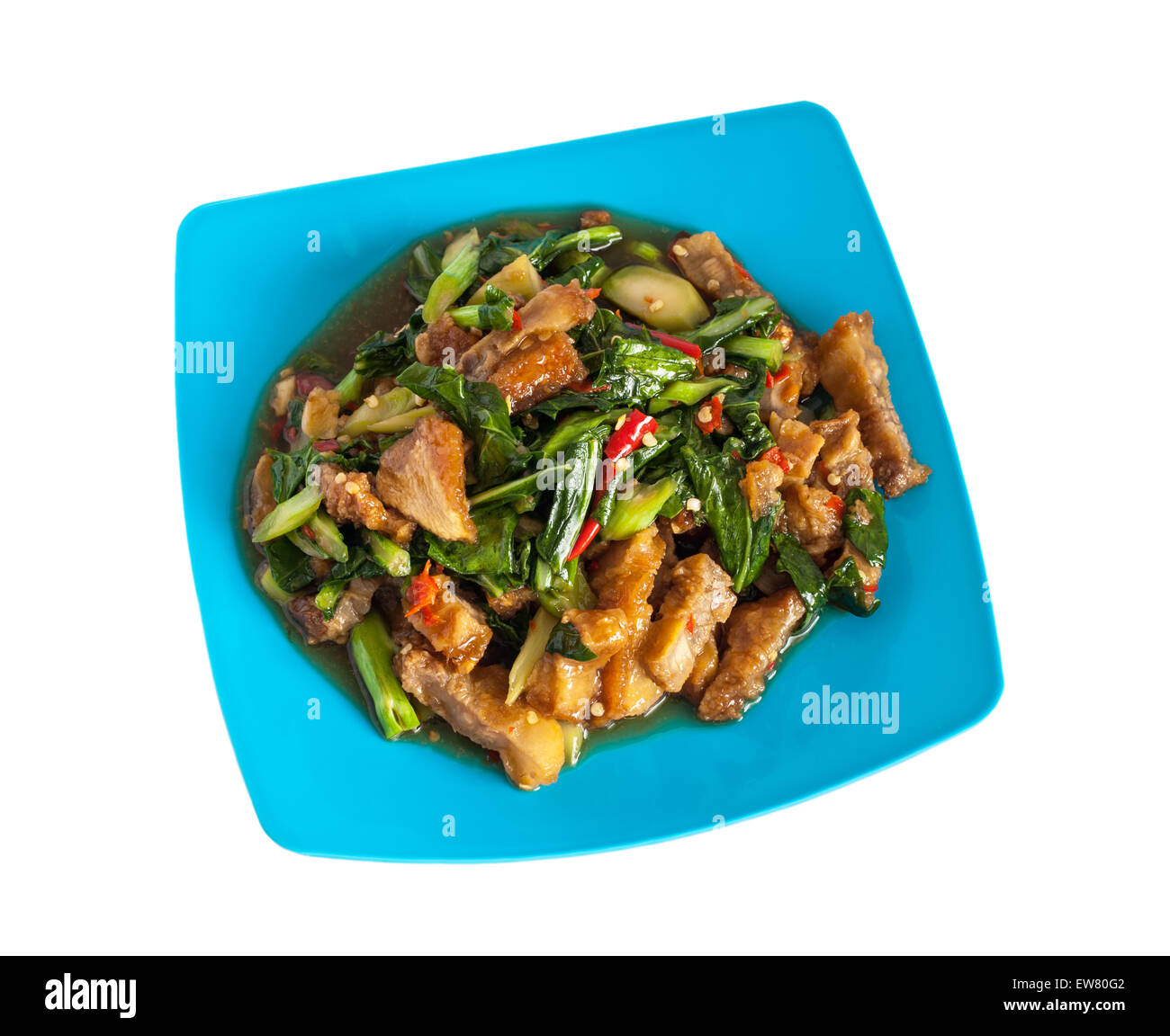 Stir Fried Kale Crispy Pork Stock Photos & Stir Fried Kale Crispy