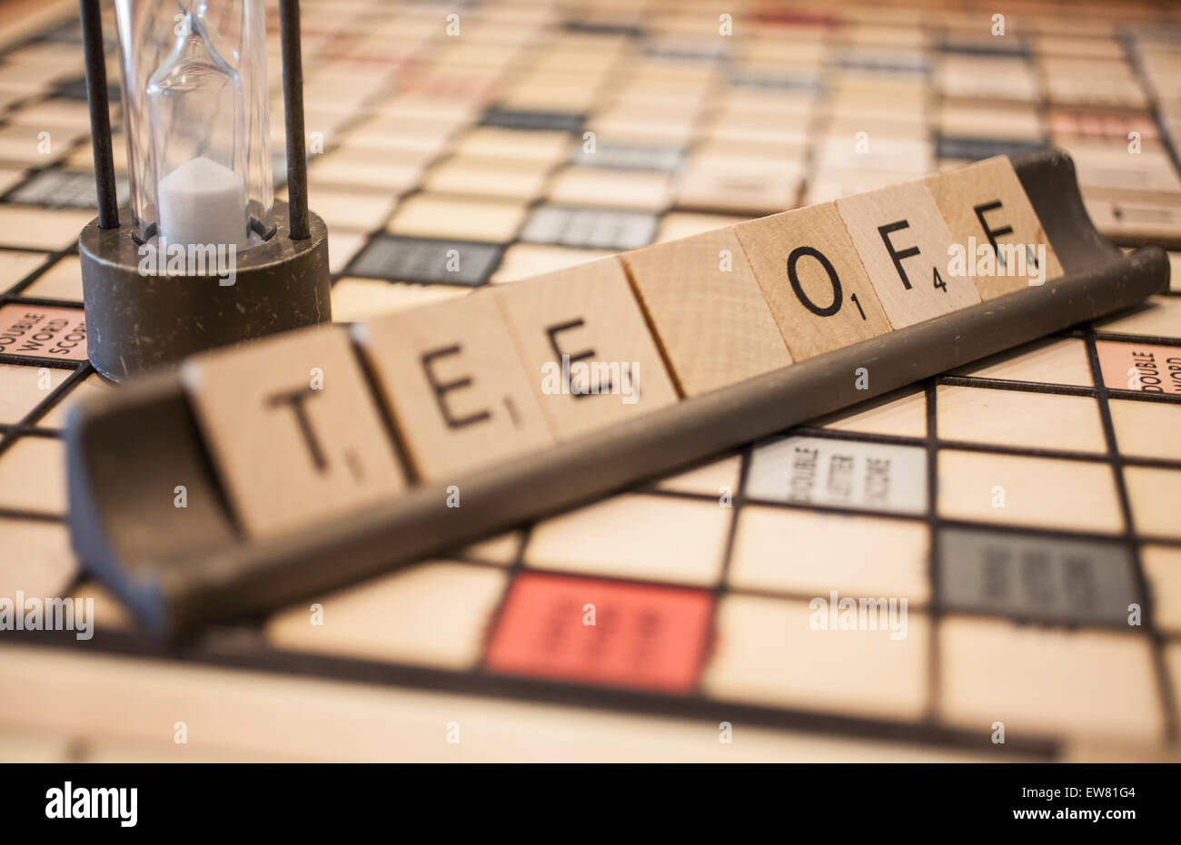 Scrabble game square tiles formed to say Tee Off - Stock Image