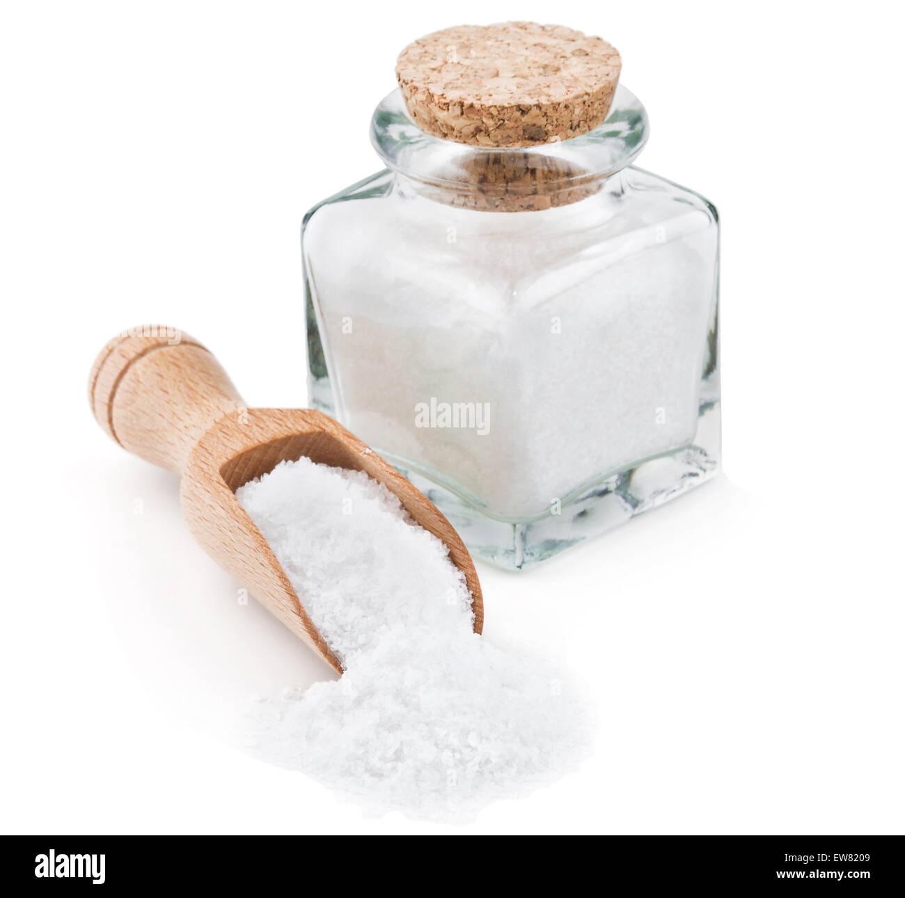 Regular table salt in a glass bottle - Stock Image
