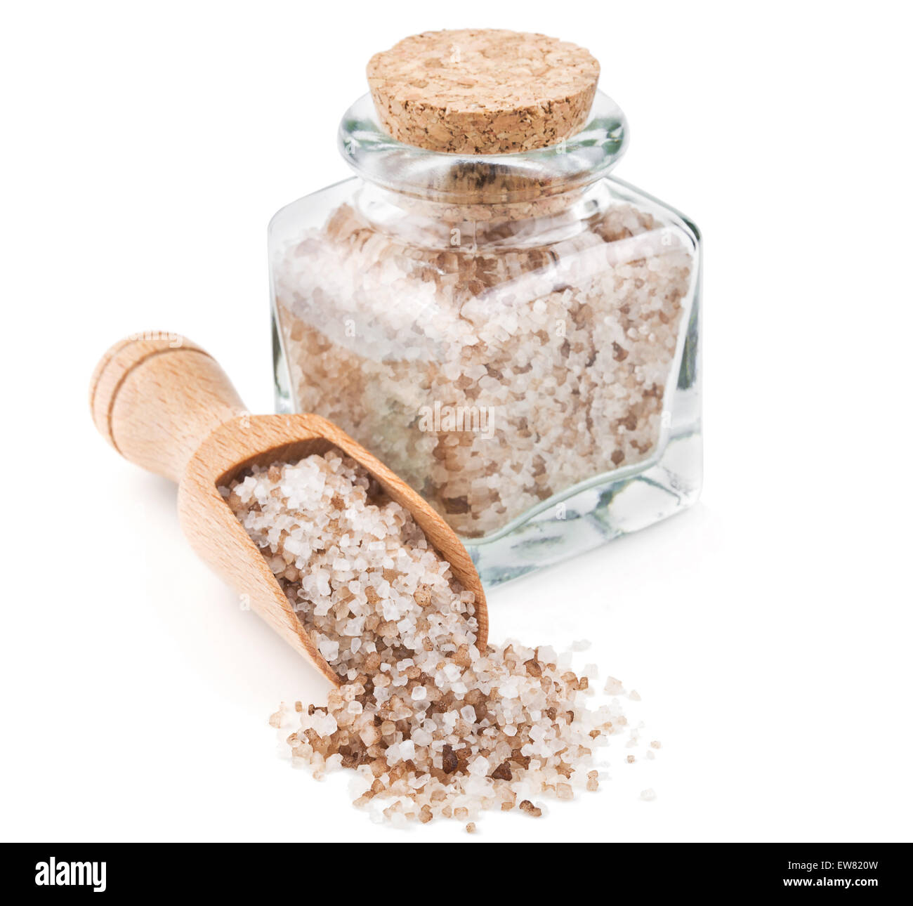 Danish smoked salt in a glass bottle - Stock Image