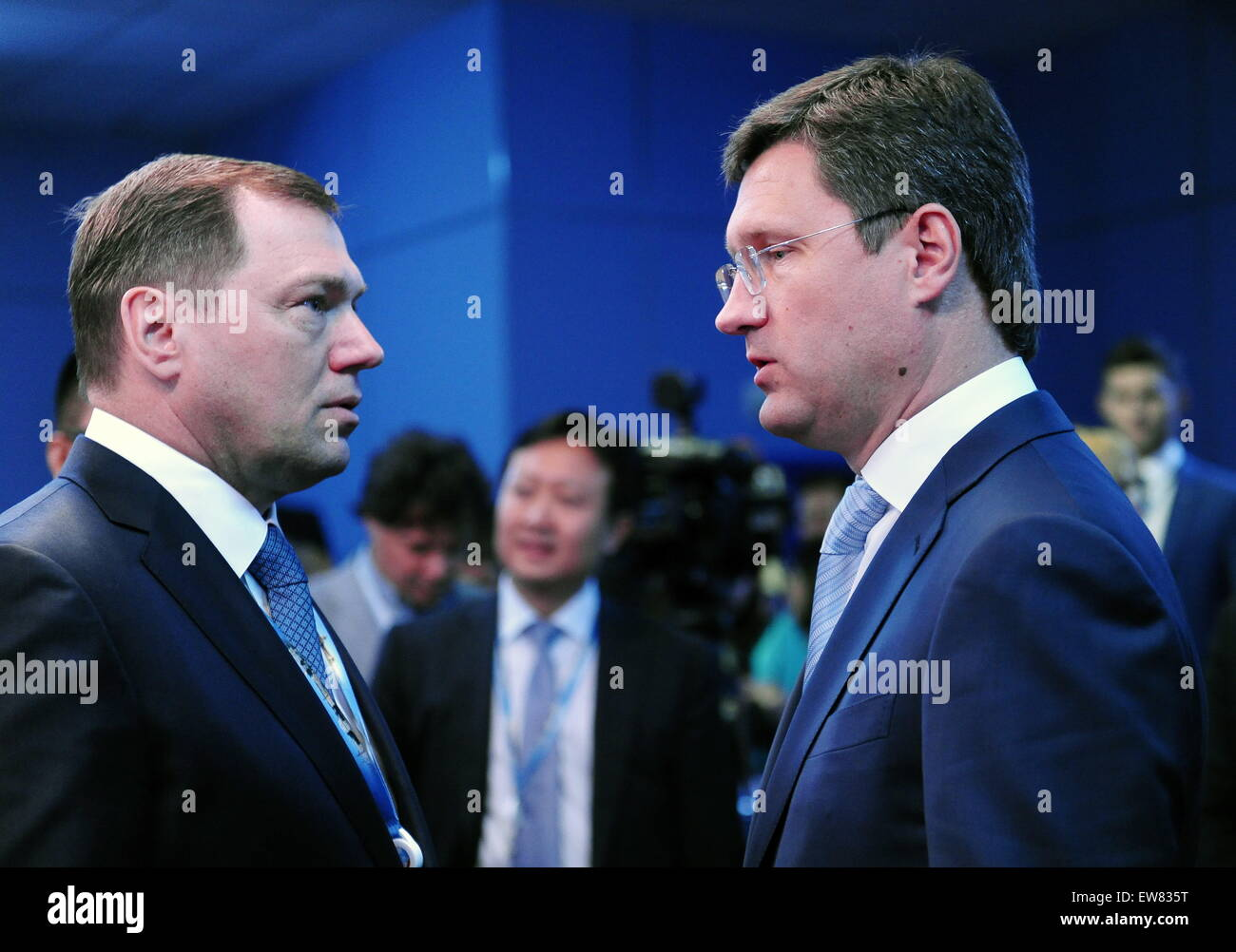 "St. Petersburg, Russia. 19th June, 2015. JSC ""Rosseti"" general director Oleg Budargin (L) and Russia's energy minister Stock Photo"