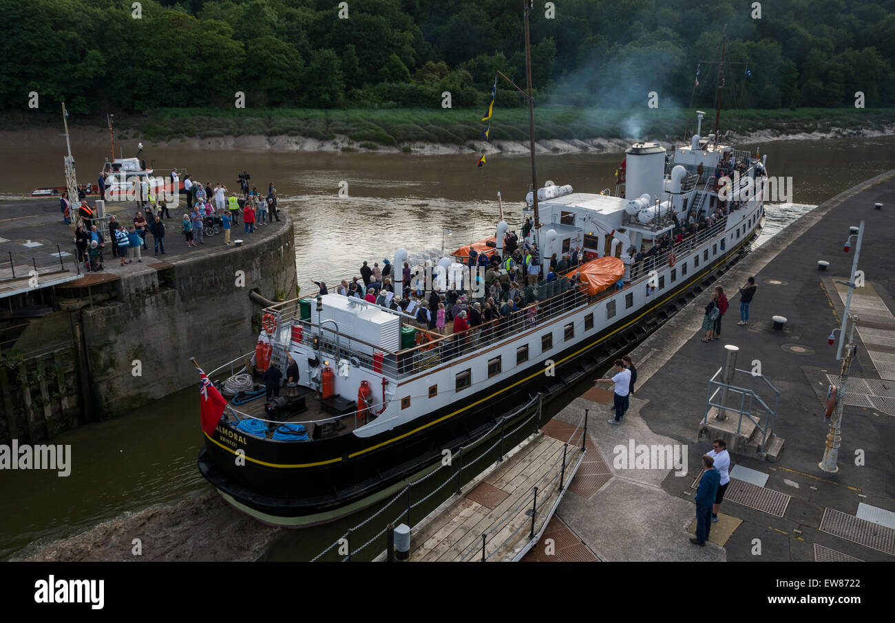 Cumberland Basin, Bristol, UK. 19th June 2015. The MV Balmoral has been out of action for 3 years, undergoing restoration Stock Photo