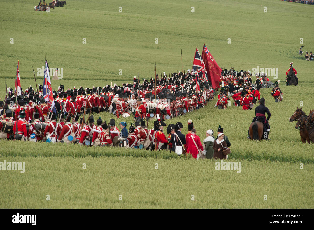 Lions Mound, Waterloo, Belgium. 19th June, 2015. First Reenactment: The French Attack. Wellington's army assembles - Stock Image
