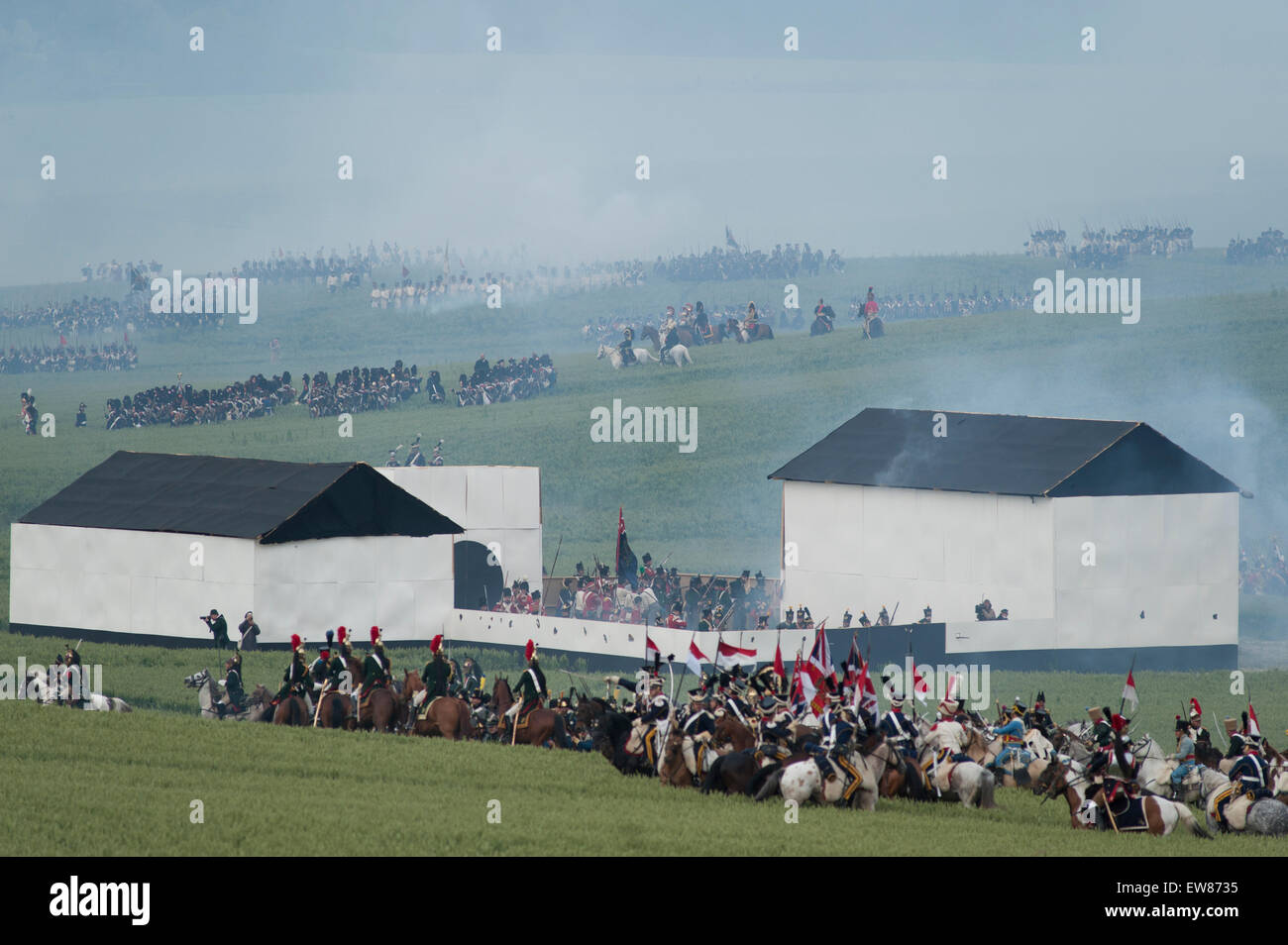 Lions Mound, Waterloo, Belgium. 19th June, 2015. First Reenactment: The French Attack. The French charge. La Haye - Stock Image