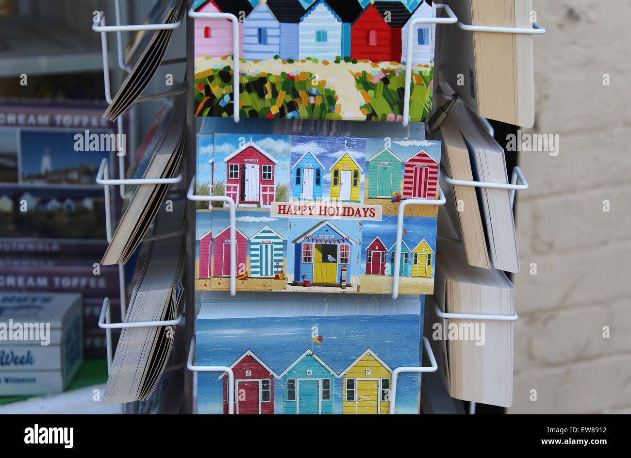 Postcards for sale at Southwold in Suffolk - Stock Image