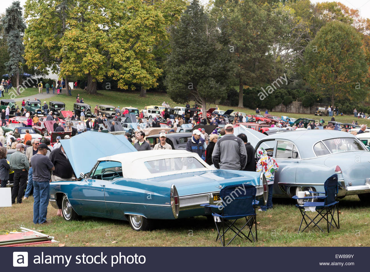 Visitors view vintage Cadillacs at the 2014 Rockville Antique Stock ...
