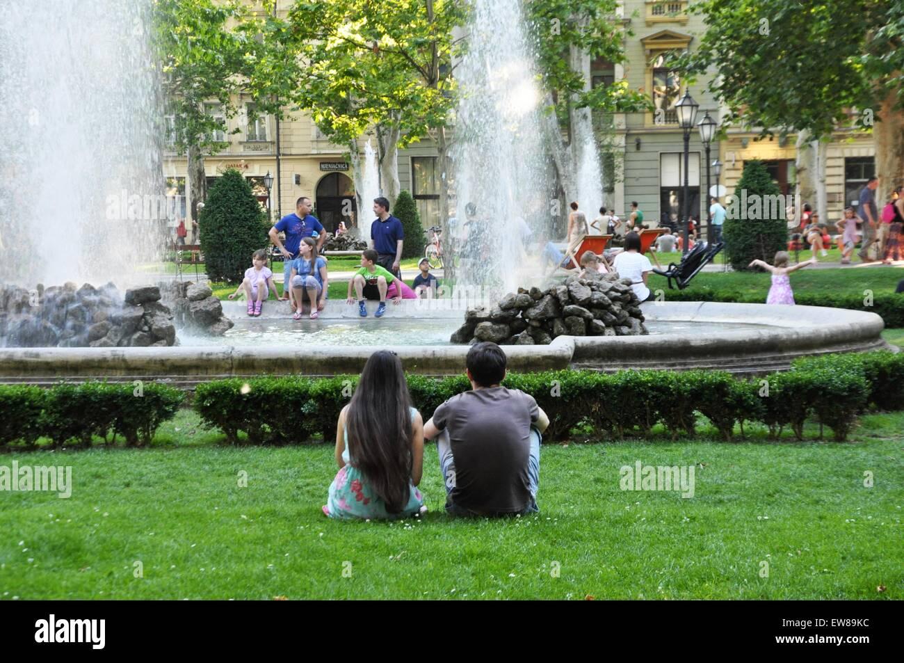 Young couple at Zrinjevac or Josip Juraj Strossmayer park, Zagreb, Croatia Stock Photo