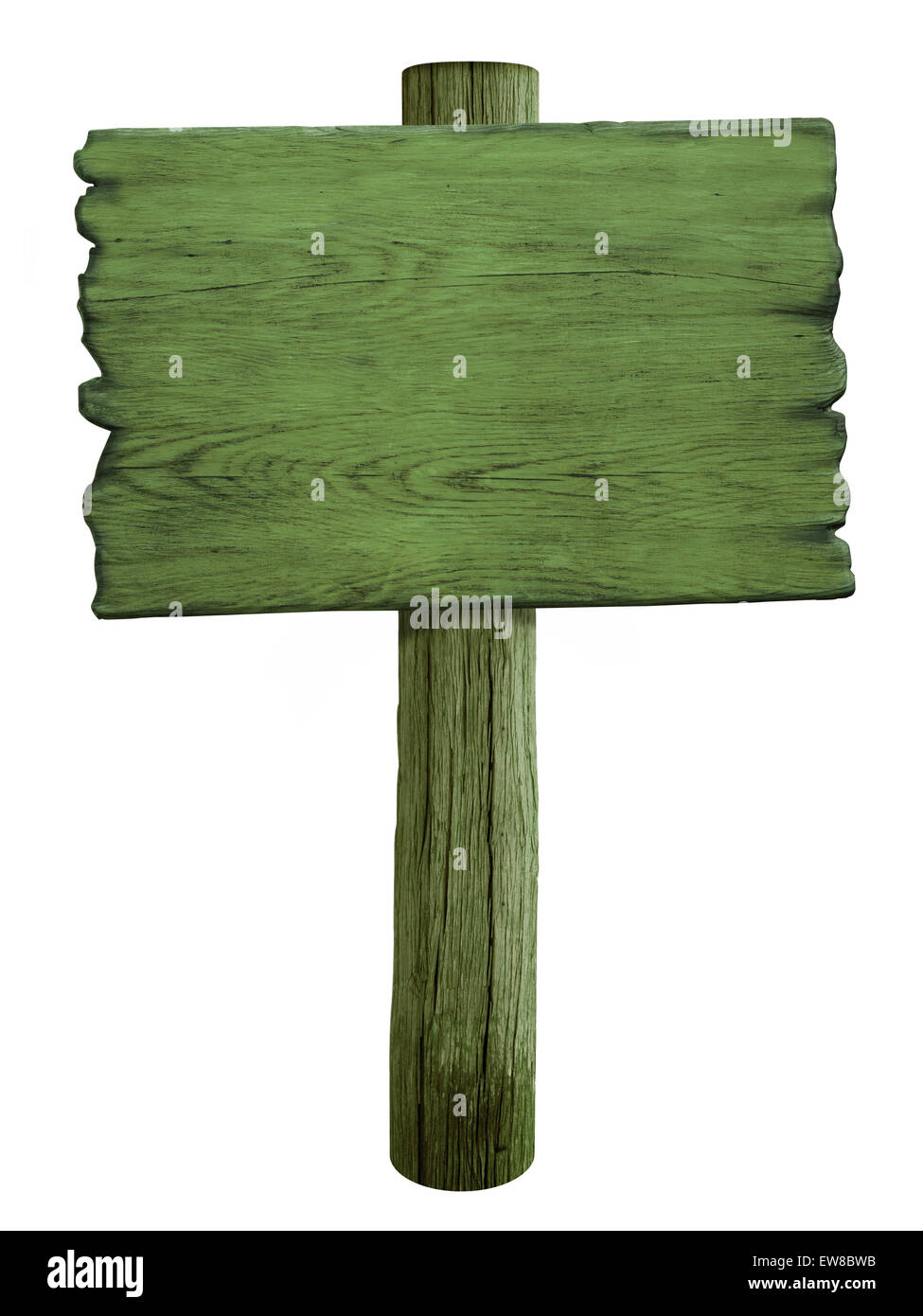 green blank wood road sign isolated on white Stock Photo