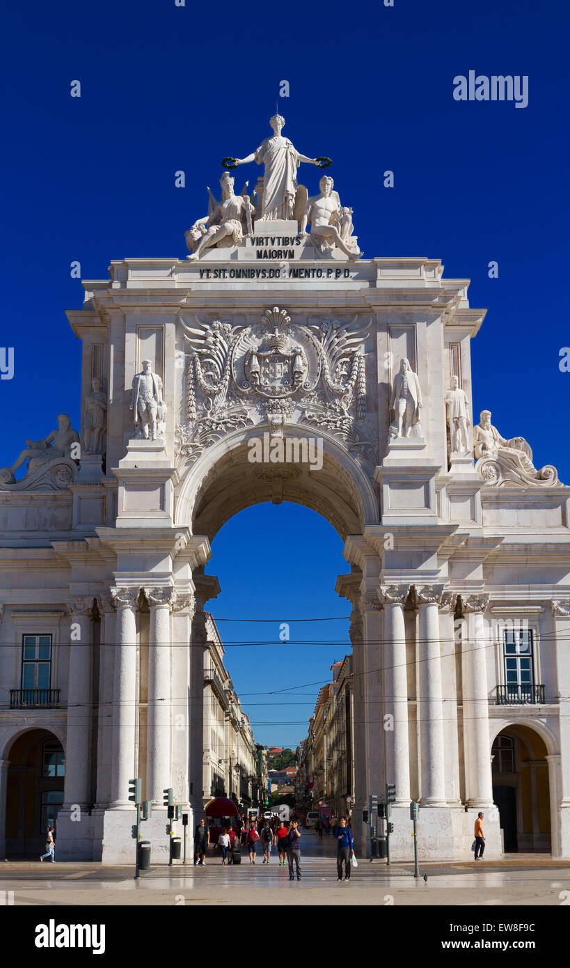 Rua Augusta Arch in Lisbon, Portugal - Stock Image