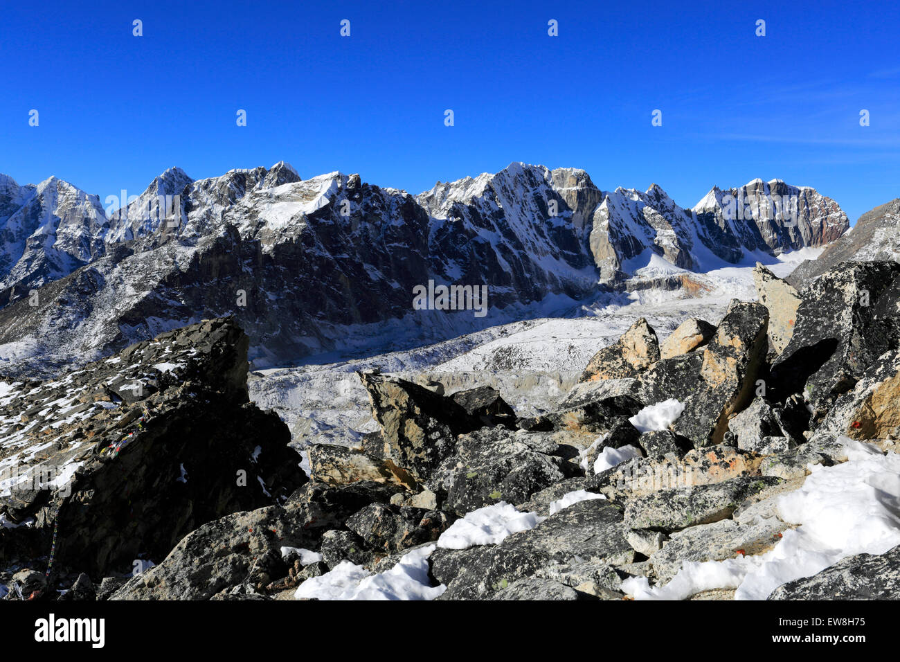 The Changri Nup Glacier, Everest base camp trek, UNESCO World Heritage Site, Sagarmatha National Park, Solu-Khumbu Stock Photo